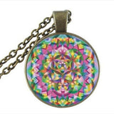 FLOWER OF LIFE Pendant Light Blue Pendant Spiritual Jewelry Mandala Necklace Metaphysical Sacred Geometry HZ1