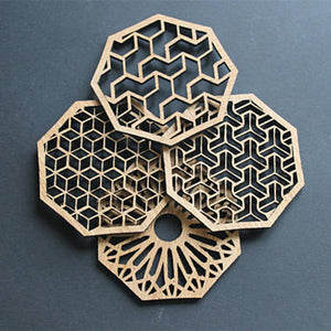 4pcs Laser Cut Wood Gorgeous Coaster Drink Coasters Housewarming New Home Wedding Gift Party Table Decoration