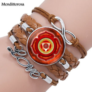Seven Chakra Yoga Reiki Healing Spiritual Jewelry With Plated Glass Cabochon Multilayer Black/Brown Leather Bracelet Bangle