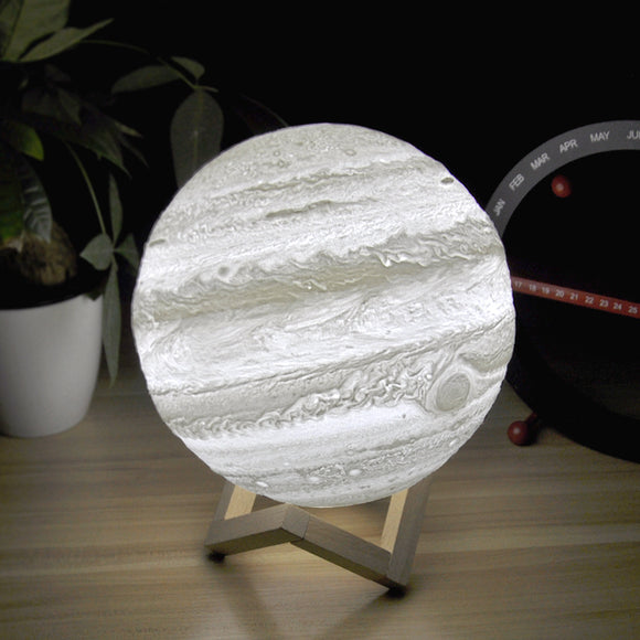 3D Light Print Jupiter Lamp Earth Lamp Colorful Moon Lamp Rechargeable Change Touch Usb Led Night Light Home Decor Creative Gift