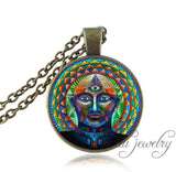 Green Amult Buddha Necklace Spiritual Pendant Zen Buddhist Meditation Buddhism Jewelry Vintage Hinduism Necklace for Women