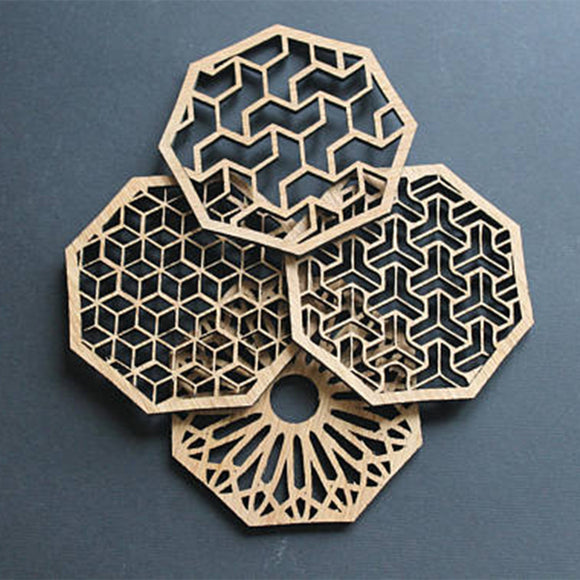 4pcs New Natural Carved Laser Cut Wood Hollow Coaster Drink Coasters Housewarming Home Gift Wedding Party Return Gifts