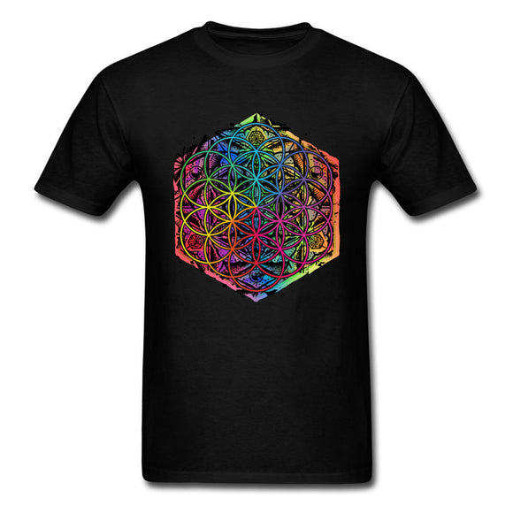 New Coming Sacred Geometry Flower of Life Mandala Color Family Men Black T-shirt Short Sleeve Unique Tops Tee Shirts