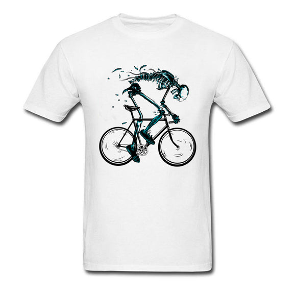 Cycle T Shirt Men 2018 Cool Design Male Cotton Top T-Shirts 100% Cotton Street Style Slim Fit Summer Tshirts Skeleton Skull