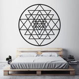 Sri Yantra Wall Vinyl Stickers Sacred Geometry Meditation Decal, Spiritual Mystical Diagram Decoration For Bedroom MT26