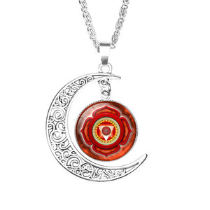 NingXiang Women Religious Ornaments Yoga Seven Chakras Reiki Healing Spiritual Moon Choke Necklace Silver Color Chain Necklace