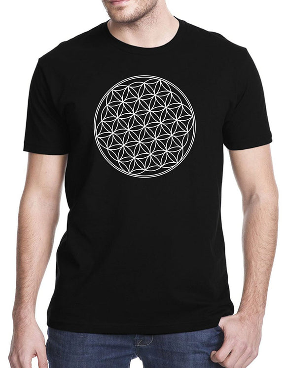 Tee Shirt Printing Men's Short Flower Of Life Sacred Geometry T-Shirt O-Neck Compression T Shirts