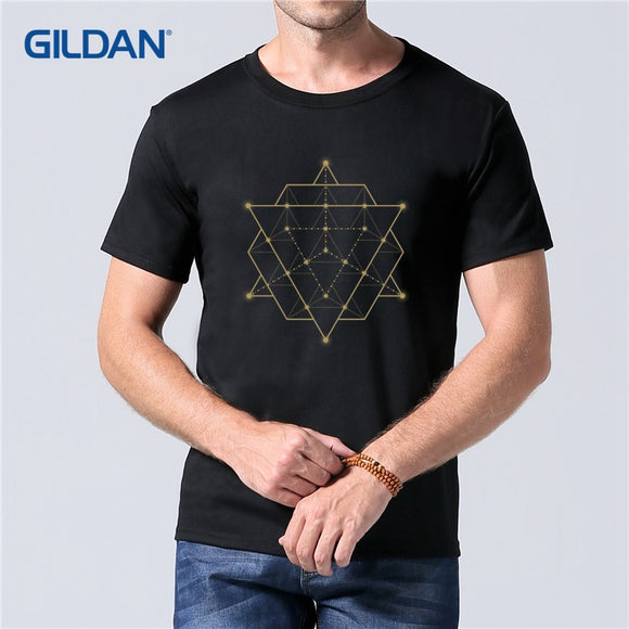 Sacred Geometry T-Shirt 2018 Gents Shirt Fashion Cotton Moto Tee Shirt Big Size