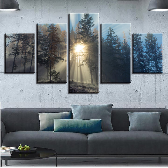 Canvas Paintings Framework Print Sunrise Home Decor 5 Pieces Sun Shines In The Forest Pictures Spiritual Poster Modular Wall Art