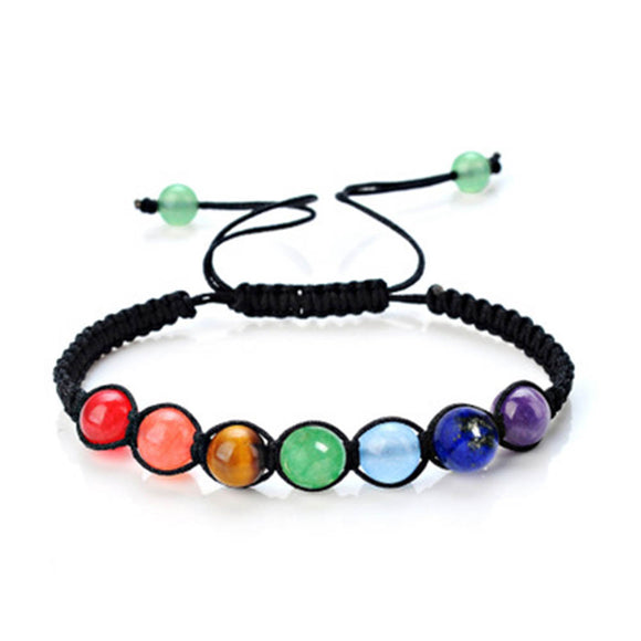 2018 Fashion DIY 7 Colorful Natural Stone Beads Crystal Color Chakra For Women Braided Rope Bracelets Reiki Spiritual Jewelry