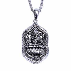 Ganesha Buddha Elephant Pendants Necklace New Fashion Thai Buddhist Spiritual Tibetan Mens Womens Silver Necklace Jewelry Gift