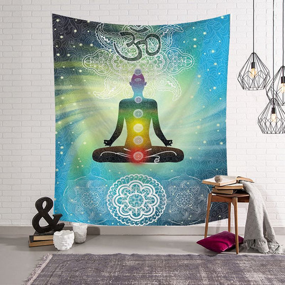 indian tapestry budha wall hanging decoration yoga decor tenture mural polyester fabric spiritual tapiz home dorm carpet blanket