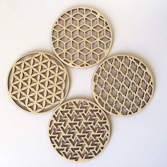 4pcs Natural Wood DIY Carved Laser Cut Hollow Coaster Drink Coasters Housewarming Home Gift Wedding Party Return Gifts