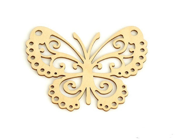 Laser Cut Wood Butterfly Coaster Ornaments . Unfinished Wood