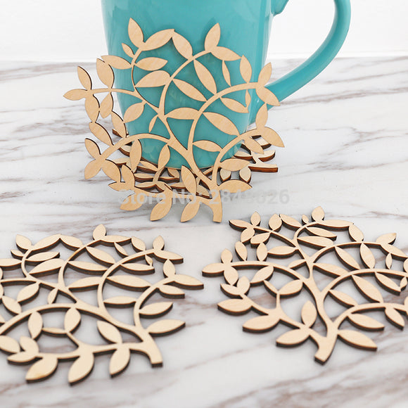 Laser Cut Wood Coaster Ornaments .Unfinished Wood Tags .Rustic leaves Ornaments,Wood Coasters Cup Mat Placemats
