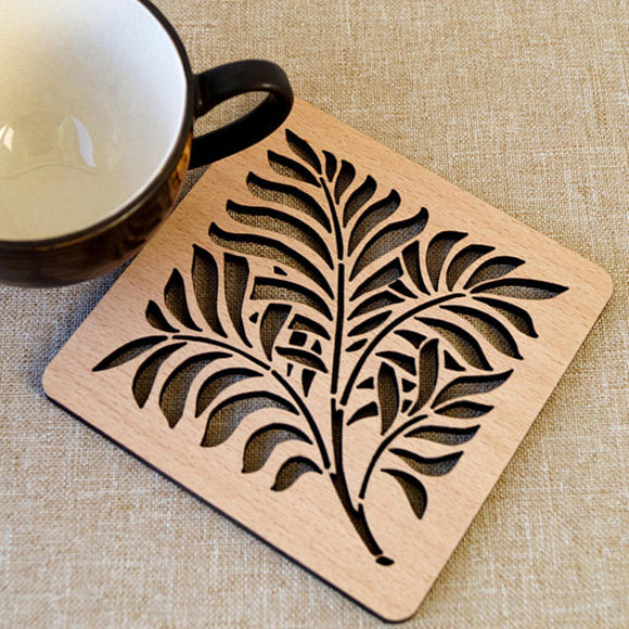 Square Hollow Drink Coasters Natural Wood DIY Carved Laser Cut Coaster Housewarming Home Gift Wedding Party Return Gifts 6pcs
