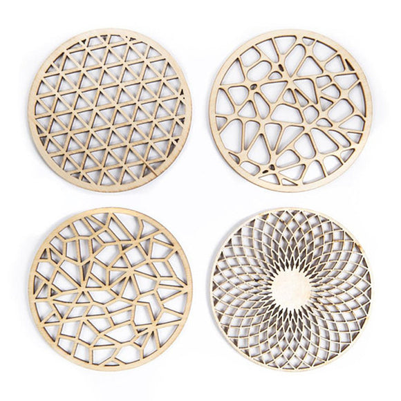 4pcs Laser Cut Wood Round Hollow Coaster Drink Coasters Housewarming New Home Gift Wedding Party Return Gifts