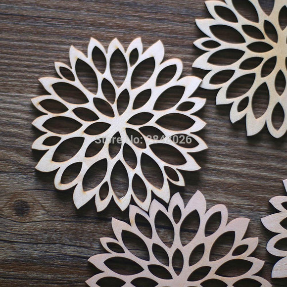 Laser Cut Wood One Flower Coaster Ornaments .Unfinished Wood Tags .Rustic leaves Ornaments,Wood Coasters Cup Mat Placemats