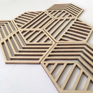 4pcs DIY Carved Laser Cut Natural Wood Hollow Coaster Drink Coasters Housewarming Gift