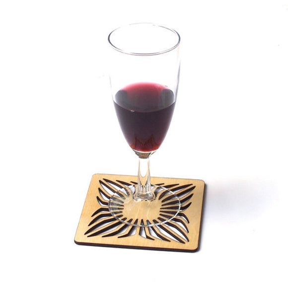 6pcs Carved Laser Cut Wood Square Hollow Coaster Drink Coasters Housewarming New Home Gift Wedding Party Return Gifts
