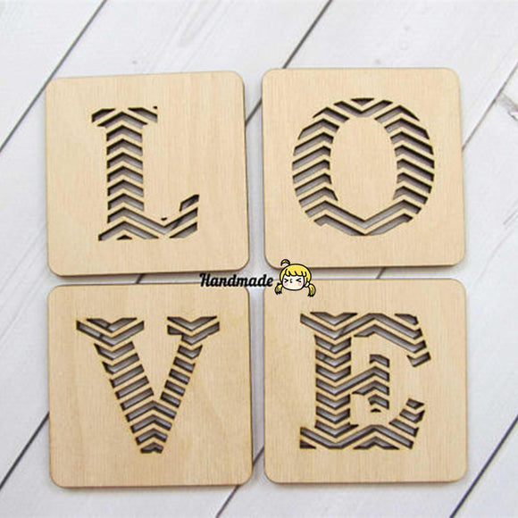 4pcs Laser Cut Wood Love Coaster Drink Coasters Housewarming New Home Gift Wedding Return Gifts