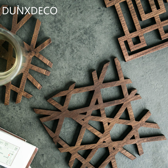 DUNXDECO Table Placemat Black Walnut Wood Laser Plate Pad Hot Insulation Tea Cup Pot Mat Vintage Rustic Artistic Desk Accessory