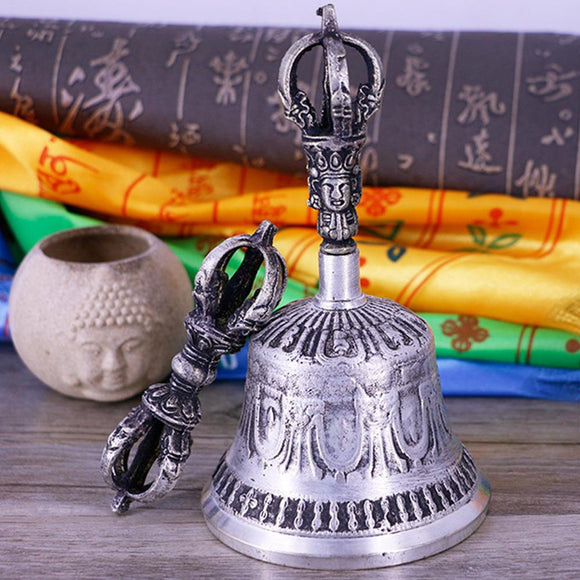 Handcrafted Tibetan Meditation Singing Bell with Dorje Vajra Practice Tool