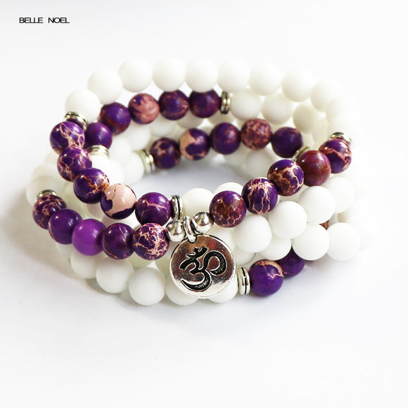 Boho Women Charms Jewelry Nature Purple Imperial Stone Matte White Beads 108 Mala Rosary Meditation Necklace or Bracelet