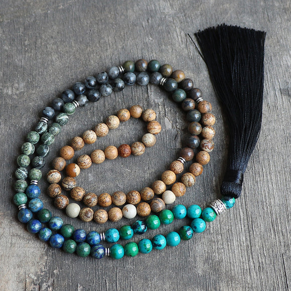 7 Chakra Mala Unique Natural Stone Long Tassel Necklace Women Meditation Necklace Knotted Bead Vintage Necklace Jewelry