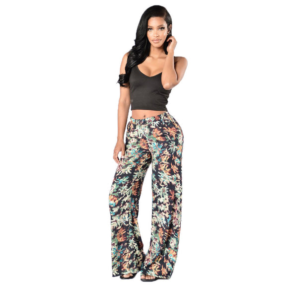 New Arrival Daily Thin Flared Wide Leg Yoga Pants Womens Floral Print Ladies Wide Leg Trousers Pants