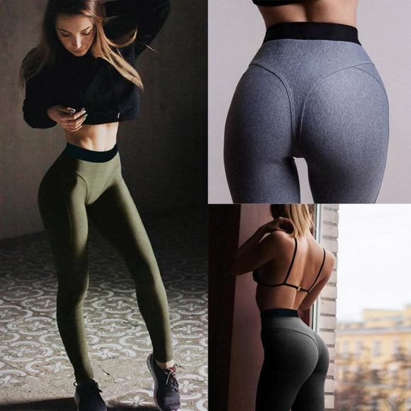 2018 Women High Waist Yoga Pants Fitness Sports Leggings Running Gym Stretch Athletic Pants Trousers Elastic Breathable Solid