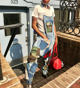 Patchwork Denim Overalls