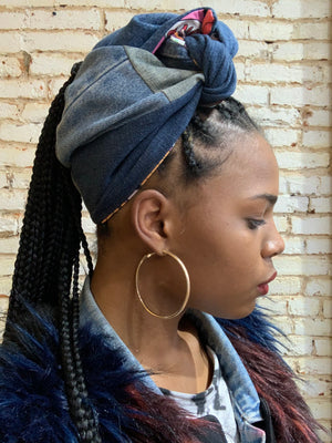 Custom Patchwork Denim Turban