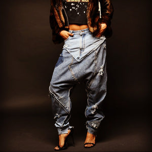 Denim Patchwork Harem Pants