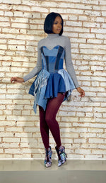 "Custom ""Pin Up Jean Doll"" Asymmetric Corset Dress"
