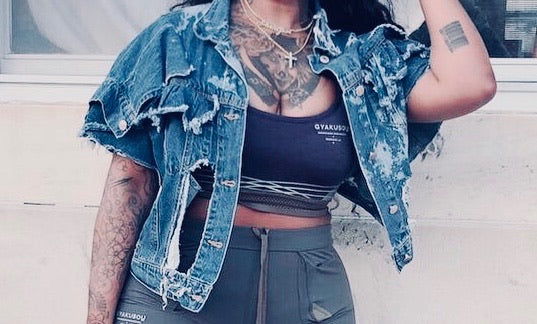 Custom Cropped Ruffle Distressed Jacket