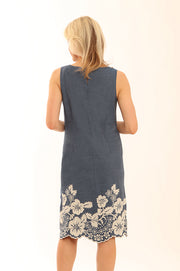 Border Embroidery Shift Dress 12011