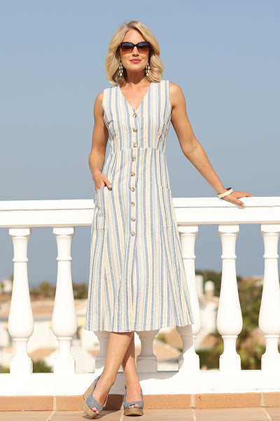 Chambray Stripe button through Dress 12017