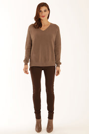 V neck stitch detail jumper 22057