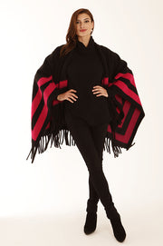 Colour block poncho 22065