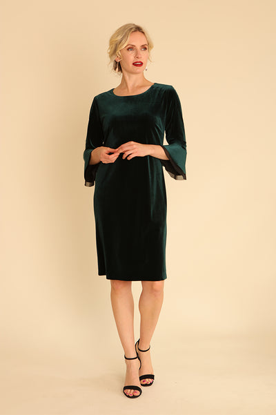 Velour Dress with Frill Sleeve 31965