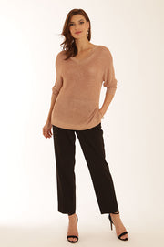 Metallic V neck 32058