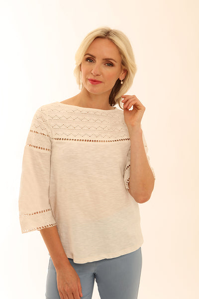 ¾ Sleeve Lace T-Shirt 52006