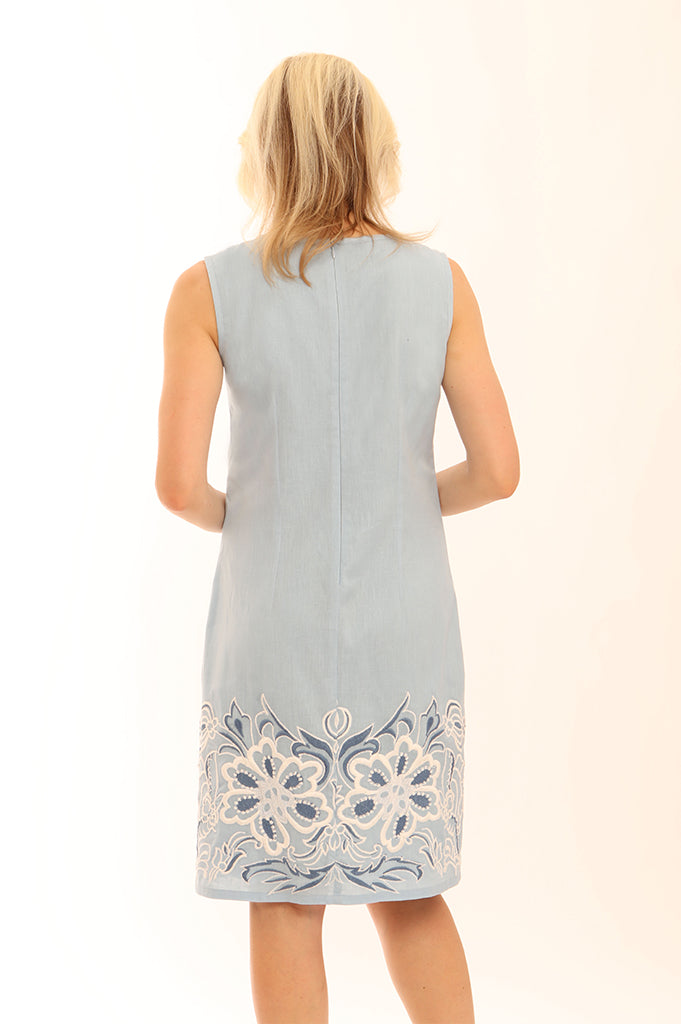 Contrast Embroidered Dress 72001