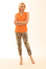 Floral Leopard Crop Trousers 72005