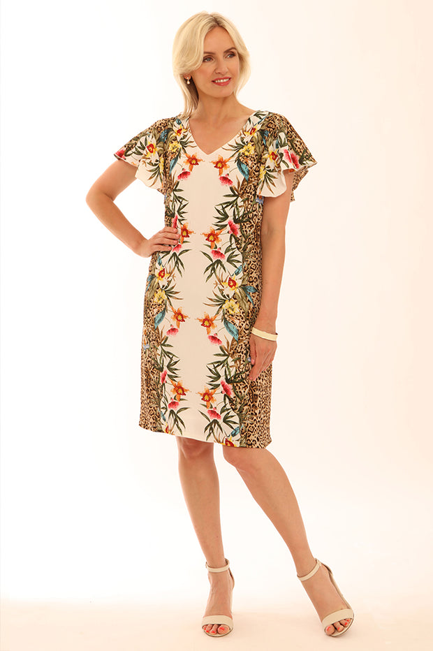 Floral Leopard Frill Sleeve Dress 72007