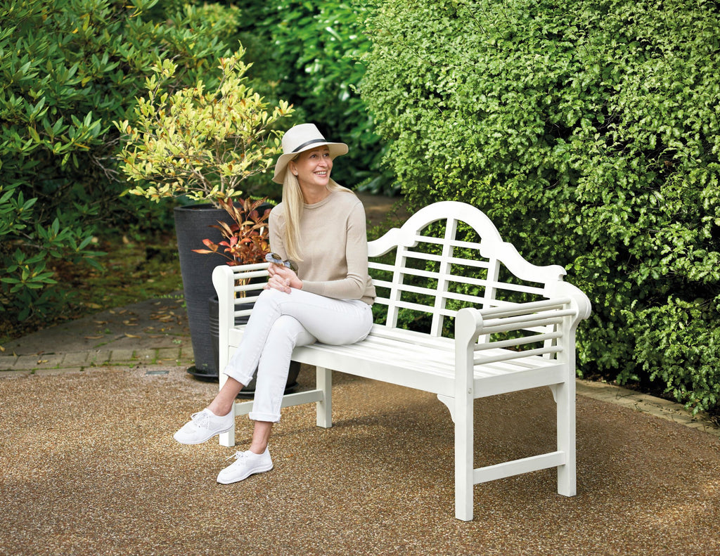 Lutyens Style Garden Bench - White Finish