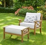 Gablemere Sorrento Garden Armchair, Footstool & Cushions - Natural