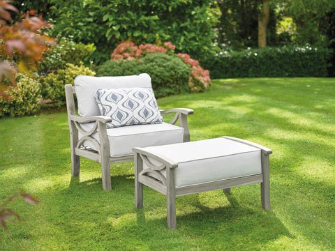 Greenhurst Sorrento Garden Armchair, Footstool & Cushions - Grey