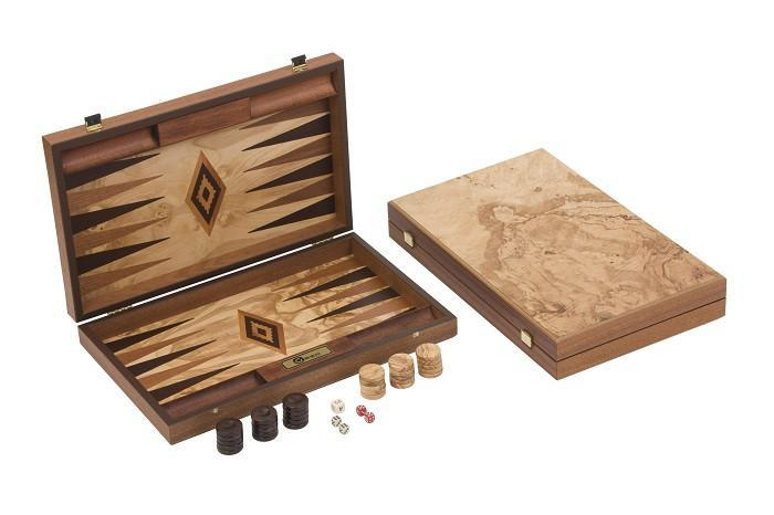 Olive Burl Backgammon Set - Garden Shop Online UK Online Garden Centre